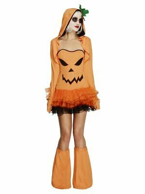 Jack Black Costume (Pumpkin Halloween Costume Womens Jack-o-Lantern Fancy Dress Orange Black)