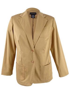 Sutton Studio Womens Cotton Blend Jacket 2 Button Blazer (16W, Straw)
