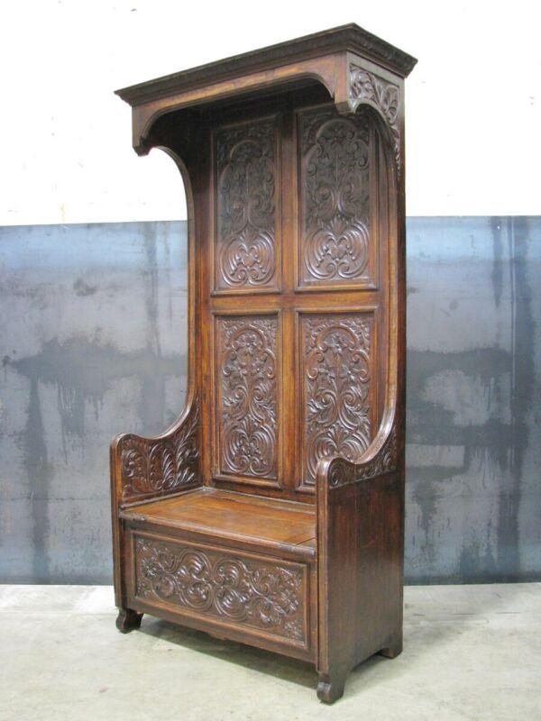19th Century Carved Dark Oak French Rennaisance Style Hall Bench; Henri II