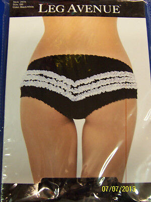 Contrast Ruffle Back Panty (Contrast Ruffle Back Panty Bloomer Black White Halloween Adult Costume Accessory )