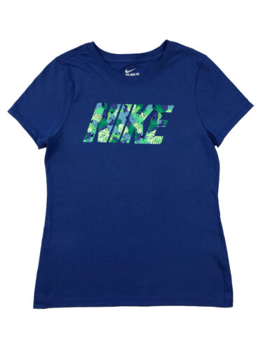Nike Girls Jungle Print Logo Graphic Cotton Shirt Blue/Green New AT5665-495