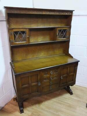 OLD CHARM STYLE MEDIUM OAK DRESSER on TRESTLE SUPPORTS,With LEADED GLAZED DOORS