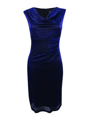 Metallic Cowl Neck (Connected Women's Metallic Cowl-Neck Sheath Dress)