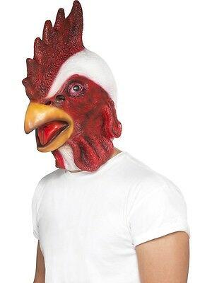 Deluxe Rooster Mask Latex Facemask Chicken Adult Full Face Realistic Look - Latex Rooster Mask