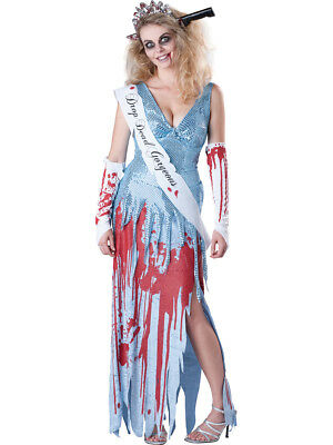 Drop Dead Gorgeous Prom Queen Halloween Deluxe Fancy Dress Costume Adult Womens (Dead Prom Queen Costume)