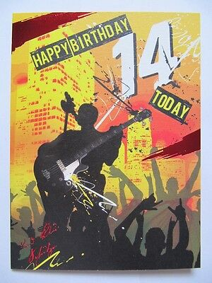 SUPER COLOURFUL ROCK STAR HAPPY BIRTHDAY 14 TODAY 14TH BIRTHDAY GREETING CARD ()