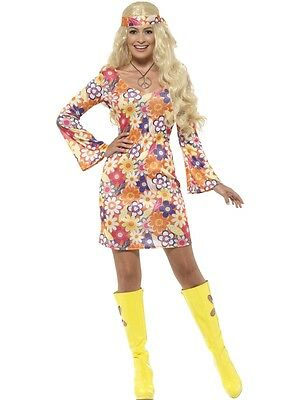 Disco Chick Costume (Adult 60s Flower Hippie Chick Groovy Go Go Mod Disco Costume)
