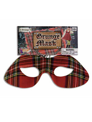 Adult or Child's Costume Accessory 90s Plaid Seattle Grunge Eye Mask - 90's Grunge Halloween Costume