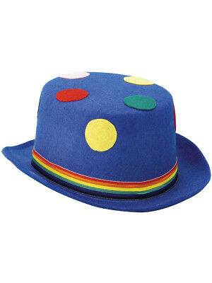 Polka Dot Top Hat (Hobo Clown Costume Polka Dot Blue Adult Felt Top Hat )