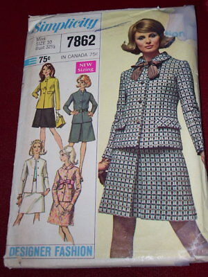 "🌸 1968 SIMPLICITY #7862 - LADIES ""JACKIE O"" STYLE JACKET & SKIRT PATTERN  10"