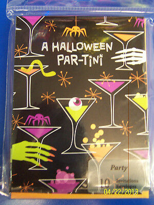Halloween Par-tini Martini Spooky Holiday Cocktail Party Invitations w/Envelopes](Halloween Cocktail Party Invitation)