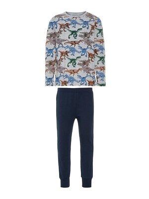 NAME IT Jungen Pyjama Schlafanzug grau blau Dinosaurier Größe 86 bis 164