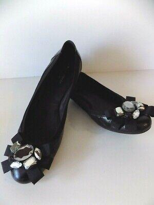 Kate Spade New York Black Croc Ballet Shoes Embellished Bow Stones  Sz 10 M EUC