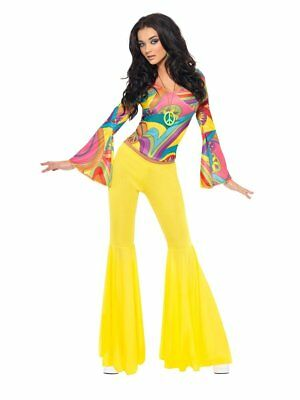 Smiffys Fever 70s Groovy Babe Hippie Adult Womens Halloween Costume 30445 - 70's Womens Halloween Costume