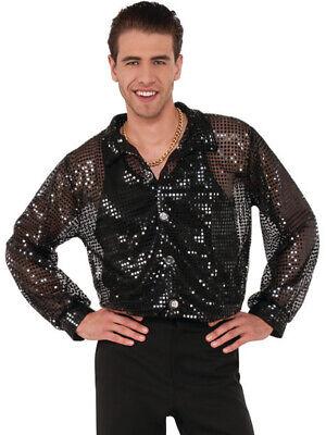 Men's 70s Dancing King Black Sequin Disco Shirt Costume