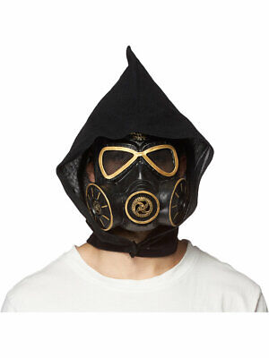 Wasteland Cyber Mask, With Cowl, Latex Costume Accessory