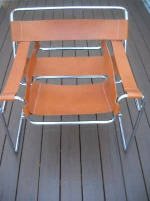 Vintage Mid Century Style Knoll Wassily Breuer Chrome & Leather Chair