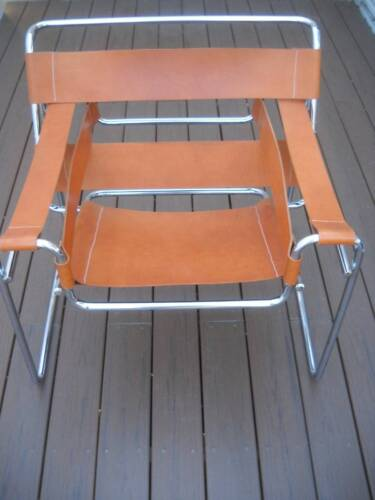 Vintage Mid Century Knoll Wassily Breuer Style Chrome & Leather Chair