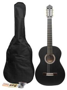 ADM Matt Black Classical Nylon Strings Guitar Package with Nylon Gig Bag, strap,