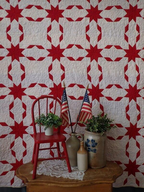 Striking! Antique c1900 Turkey Red & White Star QUILT 77x70