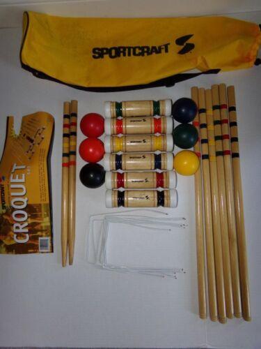 Vintage SPORTCRAFT 6 Player Wooden CROQUET SET w/ CARRYING C