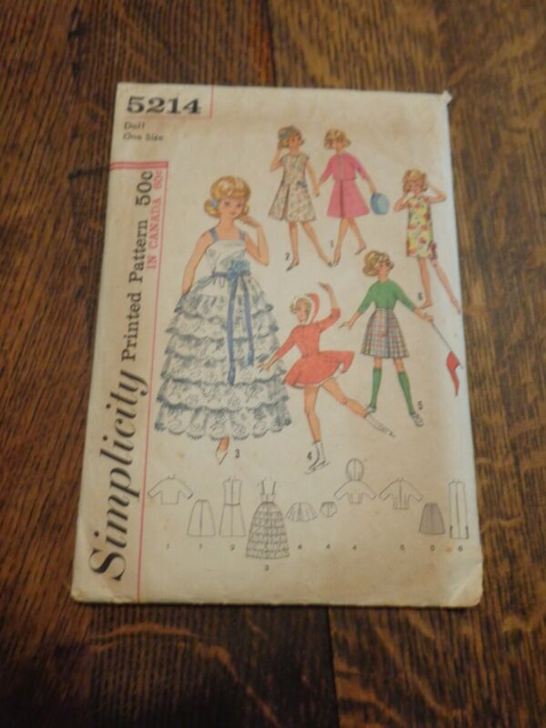 "VINTAGE TAMMY & JAN 12"" DOLL SIMPLICITY SEWING PATTER #5214 USED"