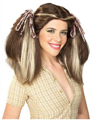 Brown Country Farm Girl Costume Wig With Blonde Streaks - Costume With Blonde Wig