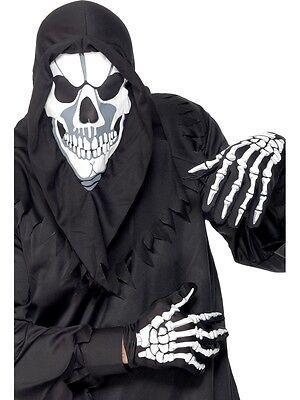 Halloween-kostüme, Weißen Handschuhen (Halloween Schwarz & Weiß Instant Skelett Satz mit Kaputze & Handschuhe Kostüm)