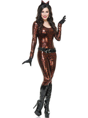 Women's Bronze Leopard Cutie Jumper With Belt and Gloves Costume
