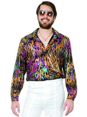 Mens Adult's 70s Metallic Super Hot Multi-Colored Vintage Flame Disco Shirt - Mens 70s Disco Costumes