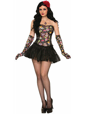 Womens Burlesque Day Of The Dead Skeleton Skull Black Corset Costume Accessory