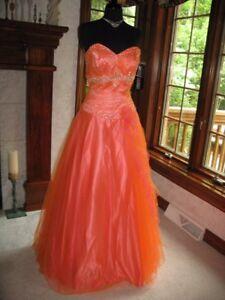 f28b89912f97 Precious Formals P35041 Orange Pink Ball Gown Dress sz 8 FLASH SALE!