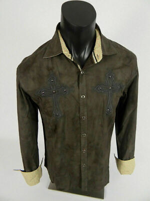Mens HOUSE OF LORDS Button Front Shirt Brown Embroidered Crosses Studs STRETCHY Embroidered Button Front Shirt