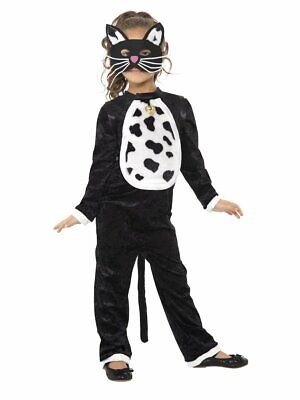 Cat Costumes For Girls (Girls Cute Cat Costume Plush Bodysuit with Bell & Mask Halloween Kids Child S)