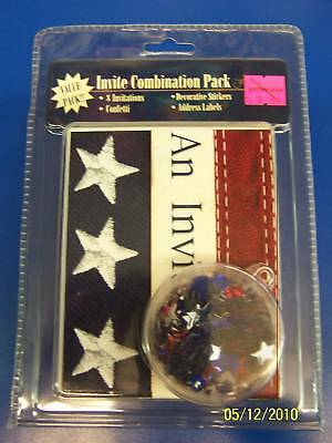 Old Glory Patriotic USA July 4th Party Invitation Combo