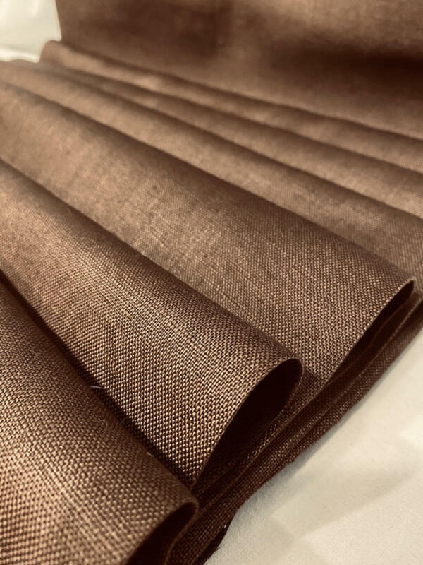 Vtg Fabric LINEN BLEND? Suiting Brown Mocha Chocolate 1940s 36x4yd+7""