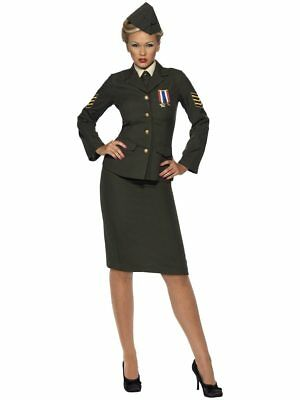 Smiffys Wartme Officer Army Military Green Adult Womens Halloween Costume 35335](Adult Army Costume)