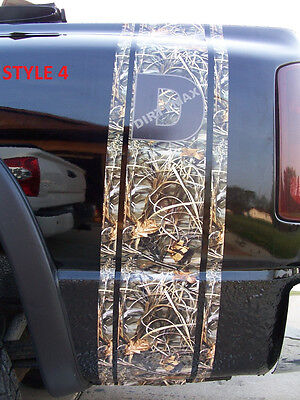 Real Tree M4 CAMO W/ Logos Truck Bed Stripes Stripe Decals Ram Chevy GMC Duramax