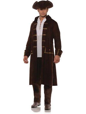 Pirate Coat Costume (Men's Brown Pirate Captain Coat And Hat Set Costume Large)