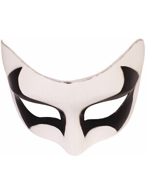 Mens White And Black Mask Halloween Spirit Costume Accessory - Halloween Mask White And Black