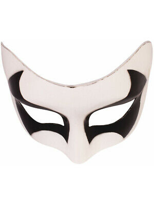 Mens White And Black Mask Halloween Spirit Costume Accessory