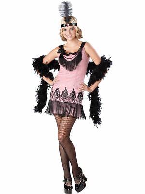 Flirty Flapper Pink Costume Teen 20s Fancy Dress 14-15 - Teen Flapper Kostüm