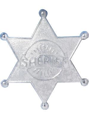 Deluxe Metal Wild West Cowboy Costume Accessory Silver Sheriff Badge - Wild West Cowboy Costume