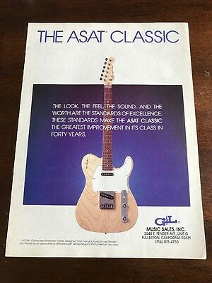 1990 VINTAGE 8X11 PRINT Ad FOR G&L ASAT Classic Series Guitars by Leo Fender, used for sale  Shipping to Ireland