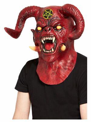 Satanic Devil Overhead Mask Mens Deluxe Scary Halloween Fancy Mask Devils