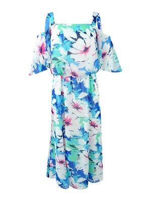 Nine West Women's Floral-Print Cold-Shoulder Midi Dress 4, Ice Blue (Nine West Womens Ice)