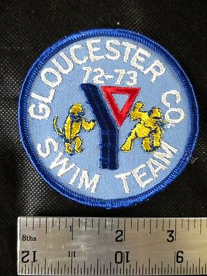 Vintage 1972 YMCA Patch - GLOUCESTER COUNTY 72-73 Swim Team - COOL !