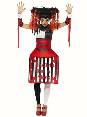 Jacky Jack in a Box Womens Halloween fancy dress costume Outfit Circus Horror