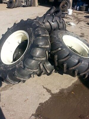2 14.9x24 John Deere Ford 8 Ply Tubeless Easy Repair Tractor Tires On Wheels