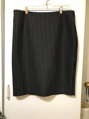 Black White Pencil Pinstripe - Forever 21 Black White Stretch Pinstripe Pencil Skirt - Size 1X